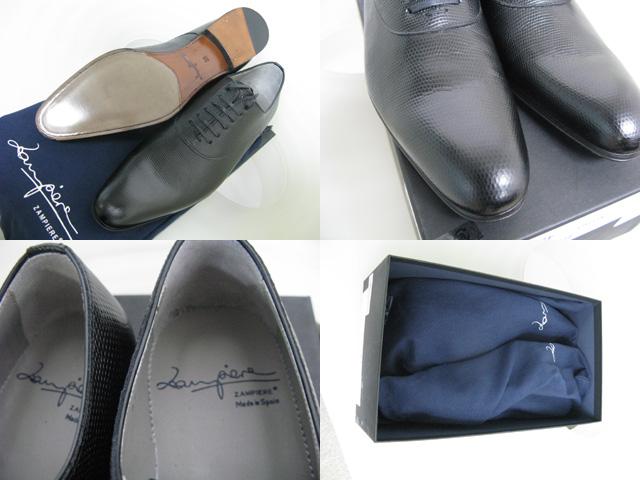 ZAMPIERE(ザンピエールと言う)スペインの靴メーカー。 黒いシンプルなプレーントゥですがリザード型押し。  裏を確認するとかなり細~くシェイプされています。